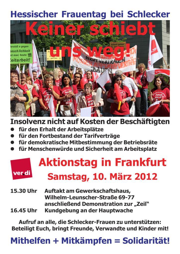 ver.di ruft auf zu schlecker aktionstag in FFM am Sa 10.3.2012