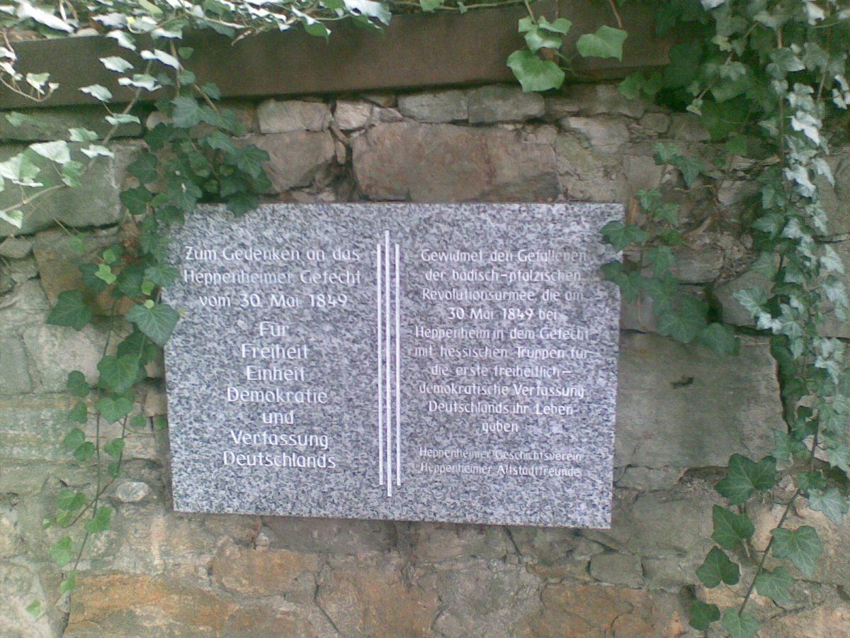 Zum Gedenken an das Heppenheimer Gefecht vom 30.Mai 1849